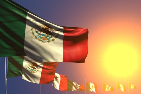 beautiful memorial day flag 3d illustration  - many Mexico flags on sunset placed diagonal with bokeh and space for your text