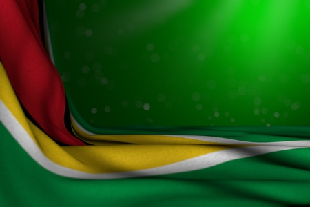 cute dark photo of Guyana flag lie in corner on green background with soft focus and free space for text - any feast flag 3d illustration Foto de archivo