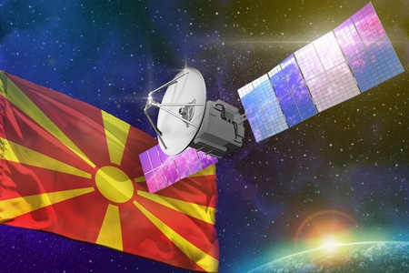Satellite with Macedonia flag, space communications technology concept - 3D Illustration