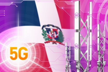 Dominican Republic 5G network industrial illustration, large cellular tower or mast on digital background with the flag - 3D Illustration Stock Illustration - 124803834