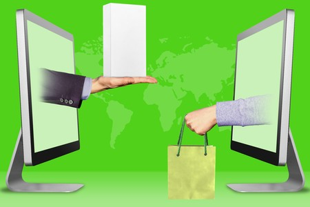 ecommerce concept, hands from laptops. hand with white small cell phone box and hand with shopping bag . 3d illustration Stock Photo