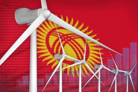 Kyrgyzstan wind energy power digital graph concept  - green energy industrial illustration. 3D Illustration Standard-Bild - 124803934