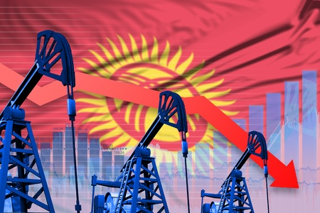 Kyrgyzstan oil industry concept, industrial illustration - lowering, falling graph on Kyrgyzstan flag background. 3D Illustration