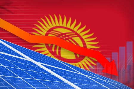 Kyrgyzstan solar energy power lowering chart, arrow down  - green energy industrial illustration. 3D Illustration Banco de Imagens