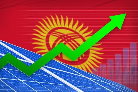 Kyrgyzstan solar energy power rising chart, arrow up  - green energy industrial illustration. 3D Illustration Stock Photo