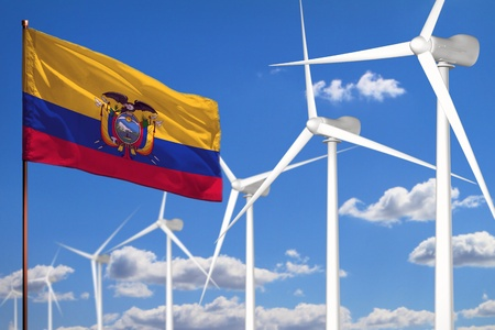 Ecuador alternative energy, wind energy industrial concept with windmills and flag - alternative renewable energy industrial illustration, 3D illustration Standard-Bild - 124808100
