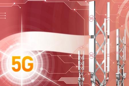 Latvia 5G network industrial illustration, huge cellular tower or mast on digital background with the flag - 3D Illustration
