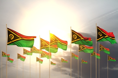 nice many Vanuatu flags in a row on sunset with free space for your text - any celebration flag 3d illustration Stock Photo