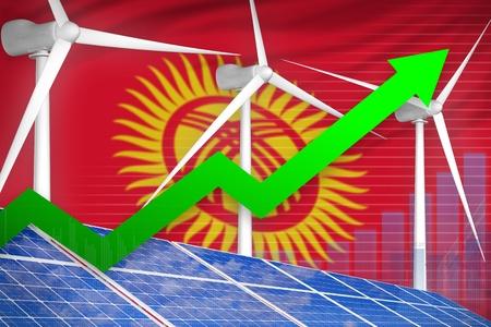 Kyrgyzstan solar and wind energy rising chart, arrow up  - environmental energy industrial illustration. 3D Illustration