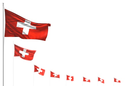 beautiful anthem day flag 3d illustration  - Switzerland isolated flags placed diagonal, photo with selective focus and place for your content