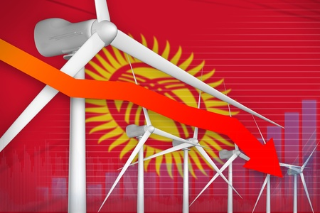 Kyrgyzstan wind energy power lowering chart, arrow down  - modern energy industrial illustration. 3D Illustration