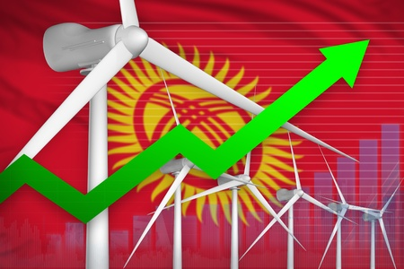 Kyrgyzstan wind energy power rising chart, arrow up  - green energy industrial illustration. 3D Illustration Standard-Bild - 124808765