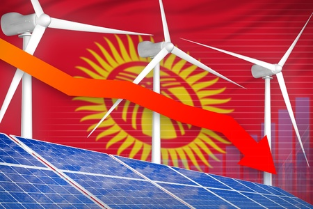 Kyrgyzstan solar and wind energy lowering chart, arrow down  - green energy industrial illustration. 3D Illustration