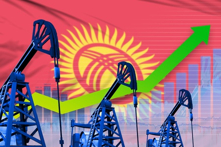 Kyrgyzstan oil industry concept, industrial illustration - growing graph on Kyrgyzstan flag background. 3D Illustration Stock Photo