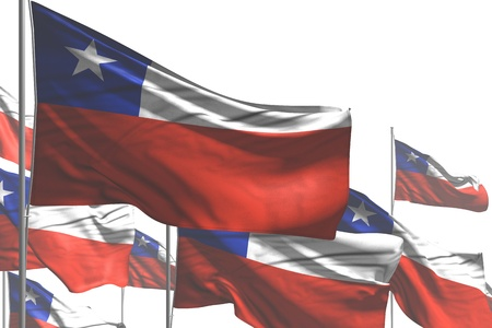 pretty anthem day flag 3d illustration  - many Chile flags are wave isolated on white