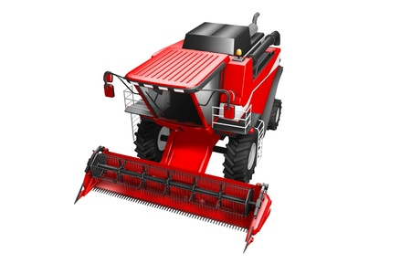 huge rendered red grain harvester top view isolated on white - industrial 3D illustration