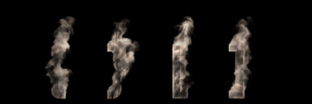 artistic halloween smoke font - square brackets and braces made of heavy fog isolated on black, 3D illustration of symbols Stock Photo