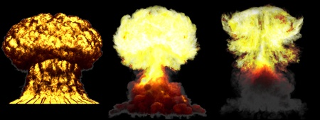 3 big highly detailed different phases mushroom cloud explosion of nuclear bomb with smoke and fire isolated on black - 3D illustration of explosion