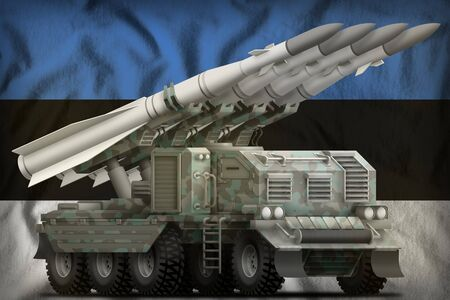 tactical short range ballistic missile with arctic camouflage on the Estonia flag background. 3d Illustration