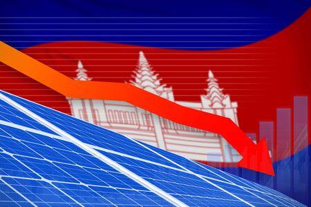 Cambodia solar energy power lowering chart, arrow down  - green energy industrial illustration. 3D Illustration Banco de Imagens
