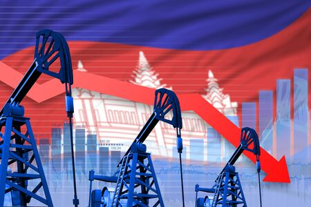 Cambodia oil industry concept, industrial illustration - lowering, falling graph on Cambodia flag background. 3D Illustration