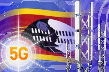 Swaziland 5G network industrial illustration, huge cellular tower or mast on hi-tech background with the flag - 3D Illustration