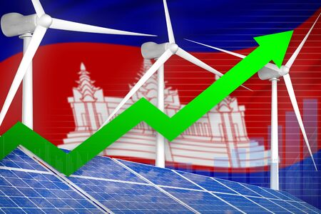 Cambodia solar and wind energy rising chart, arrow up  - environmental energy industrial illustration. 3D Illustration 写真素材 - 124681974