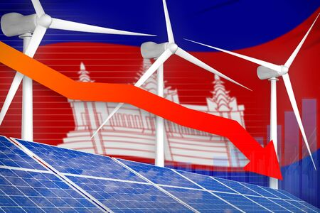 Cambodia solar and wind energy lowering chart, arrow down  - green energy industrial illustration. 3D Illustration Stok Fotoğraf