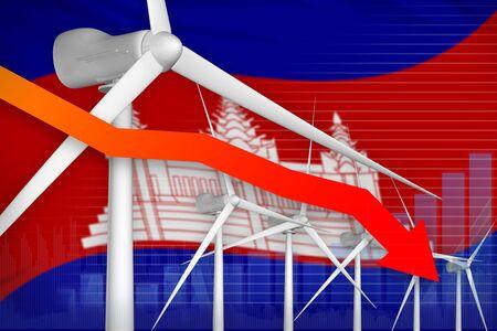 Cambodia wind energy power lowering chart, arrow down  - modern energy industrial illustration. 3D Illustration
