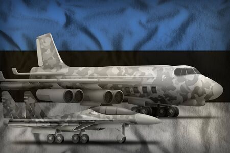 air forces with grey camouflage on the Estonia flag background. Estonia air forces concept. 3d Illustration