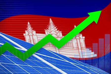 Cambodia solar energy power rising chart, arrow up  - environmental energy industrial illustration. 3D Illustration 写真素材