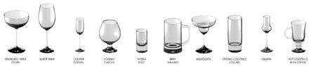 big collection of various glasses for wines and cocktail drinks isolated on white, side-top view - drinking glass render 3D illustration 写真素材