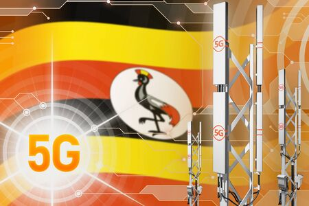 Uganda 5G network industrial illustration, large cellular tower or mast on hi-tech background with the flag - 3D Illustration