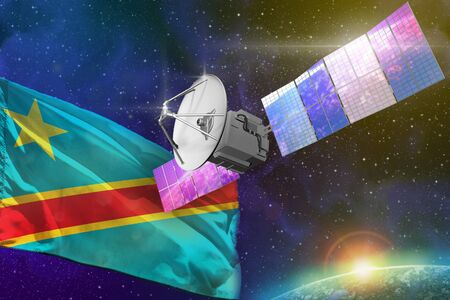 Satellite with Democratic Republic of Congo flag, space communications technology concept - 3D Illustration