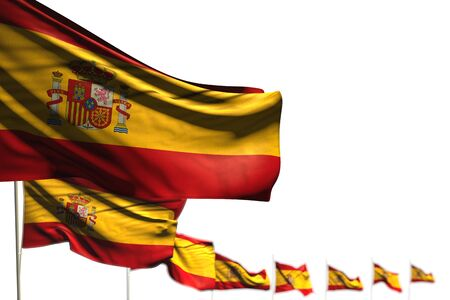 cute any occasion flag 3d illustration  - Spain isolated flags placed diagonal, image with soft focus and place for your content Imagens