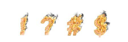 Fire and dark smoke exclamation point, question mark number sign (pound, hash) and dollar - peso sign isolated, artistic heroic font - 3D illustration of symbols