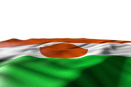 pretty mockup picture of Niger flag lie with perspective view isolated on white with place for your content - any holiday flag 3d illustration Stock Illustration - 124686214