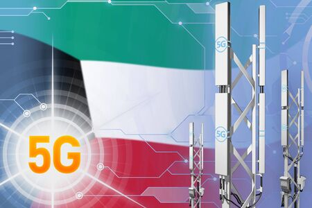 Kuwait 5G network industrial illustration, huge cellular tower or mast on modern background with the flag - 3D Illustration Stock Illustration - 124686215