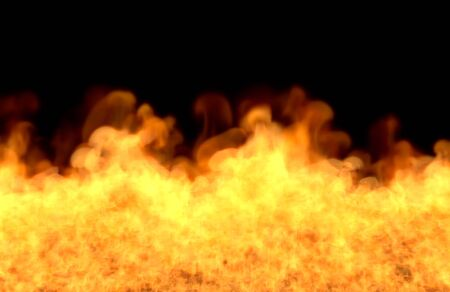 Flame from picture bottom - fire 3D illustration of mystical fiery hell, sylized frame isolated on black background Stock Photo