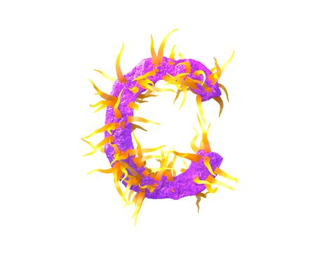space tentacles font - letter C isolated on white made of purple slime and yellow tentacles -  concept, 3D illustration of symbols