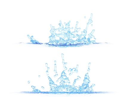 two side views of beautiful water splash - 3D illustration, mockup isolated on white - for any purpose