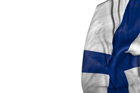cute feast flag 3d illustration  - Finland flag with big folds lie in left side isolated on white