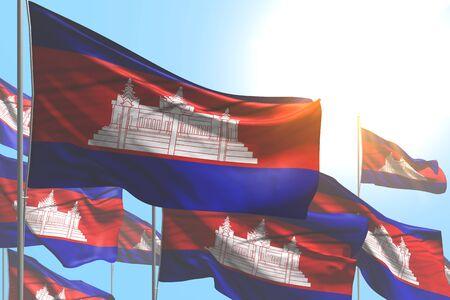 nice celebration flag 3d illustration  - many Cambodia flags are wave on blue sky background