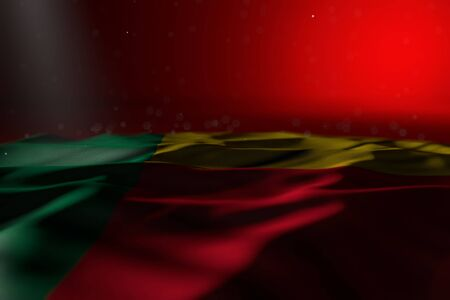 pretty dark illustration of Benin flag lying on red background with selective focus and free space for content - any holiday flag 3d illustration Foto de archivo