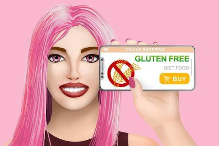Concept gluten free diet food. Smiling beautiful drawn girl on colored background. Digital illustration Фото со стока