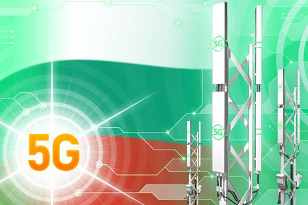 Bulgaria 5G network industrial illustration, big cellular tower or mast on modern background with the flag - 3D Illustration