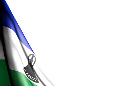 nice anthem day flag 3d illustration  - isolated picture of Lesotho flag hangs in corner - mockup on white with space for your content Stok Fotoğraf