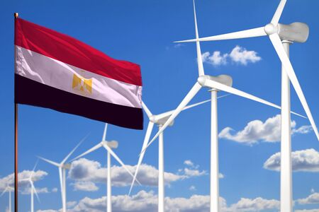 Egypt alternative energy, wind energy industrial concept with windmills and flag - alternative renewable energy industrial illustration, 3D illustration Standard-Bild - 124850155