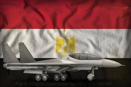 fighter, interceptor on the Egypt flag background. 3d Illustration