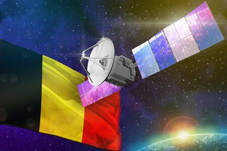 Satellite with Belgium flag, space communications technology concept - 3D Illustration